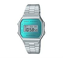 שעון יד דיגיטלי רטרו - כסף/טורקיז