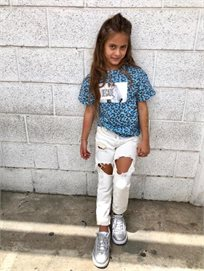 ORO/  ג'ינס יוניסקס ׁ(2- 16 שנים) לבן קרע