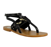 סנדל עור לנשים WHITE SUN דגם BLACK3 בצבע שחור/זהב