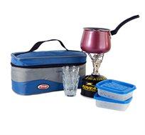 ערכת קפה זוגית המכילה כירת גז + מיכל, פינג'ן מטפלון 2 כוסות ו2 קופסאות אחסון