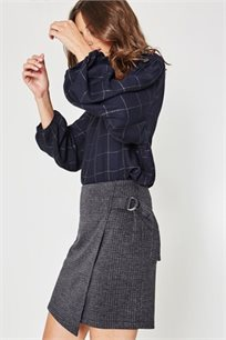 חצאית מיני משובצת PROMOD לנשים - אפור כהה