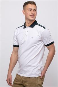 חולצת פולו לייקרה צווארון וסיומת שרוול בצבע קונטרסטי
