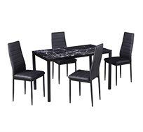 פינת אוכל עם 4 כיסאות מעוצבת מזכוכית