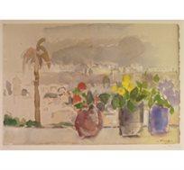 """""""חלון בירושלים"""" - ציורו של פימה אפרים, ליטוגרפיה בחתימה אישית בגודל 46X64 ס""""מ"""