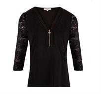 חולצת טי MORGAN בשילוב תחרה ורוכסן - צבע לבחירה