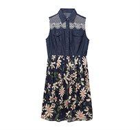 שמלת Desigual ALOHA עם חצאית קצרה פרחונית בצבע כחול כהה