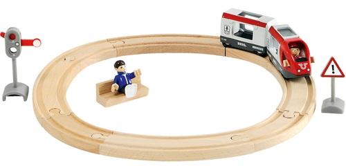 סט רכבת מעגלי עם 2 דמויות ותמרורים מעץ 15 חלקים