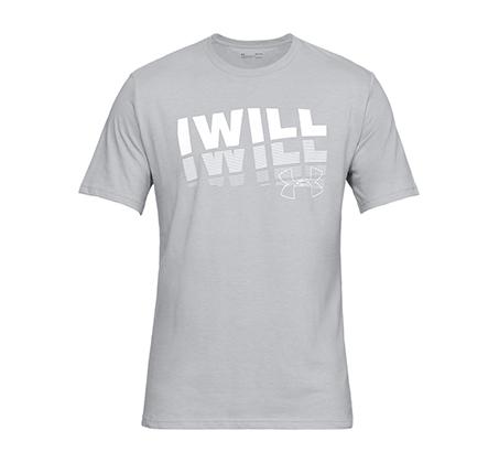 חולצת טי שרט עם הדפס Under Armour I Will 2.0 SS לגברים - אפור בהיר