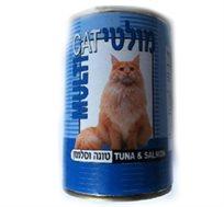 12 שימורי מולטי-קט לחתולים במרקם חתיכות במגוון טעמים לבחירה עם פתיחה מהירה לשימוש קל