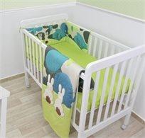 סט מצעים 3 חלקים למיטת תינוק 100% כותנה סאטן - ארנב ירוק