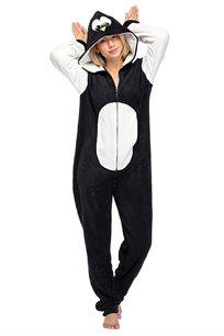פיג'מת וונזי PILPEL לנשים דגם פינגווין בצבעי שחור לבן