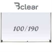 לוח מחיק זכוכית מגנטי לבן 100X190 ס''מ מעוצב תליה נסתרת סדרת Invisible כולל מדף זכוכית