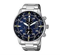 שעון יד כרונוגרף סולארי לגבר CITIZEN בצבע כסוף עם תצוגה מלאה על גבי לוח כחול