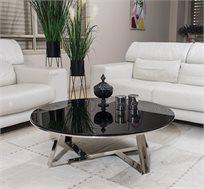 שולחן לסלון בעיצוב אלגנטי משולב מתכת וזכוכית מחוסמת חזקה