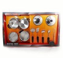 לשחק במטבח! סט כלי בישול ענק למשחק לילדים עשוי נירוסטה 11 חלקים