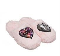 שני זוגות נעלי בית פרוותיות לנשים או נערות מעוטרות פייטים בצבעים ומידות לבחירה