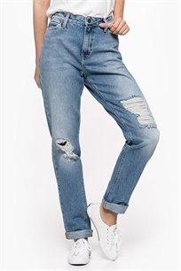 ג'ינס לנשים גזרה גבוהה עם קרעים דגם L32I44ZU