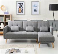 מערכת ישיבה פינתית נפתחת למיטה דגם MIA עם רגלי עץ מעוצבות בצבעים לבחירה