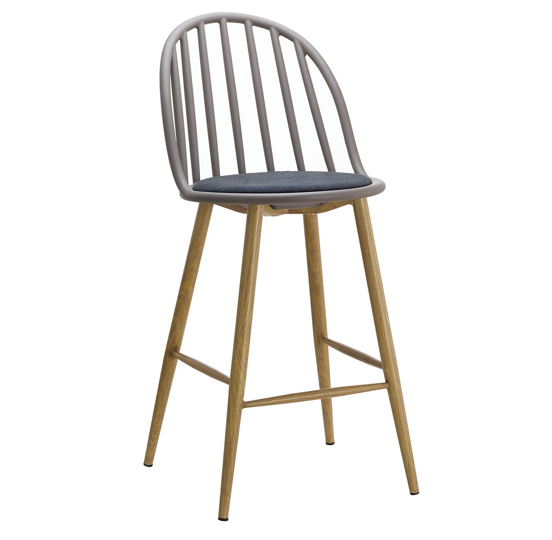 כסא בר מעוצב חזק ויציב בעל ריפוד בד, רגלי מתכת דמויות עץ ומשענת גבוהה  - תמונה 3
