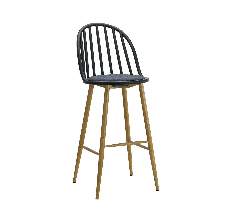 כסא בר מעוצב חזק ויציב בעל ריפוד בד, רגלי מתכת דמויות עץ ומשענת גבוהה  - תמונה 5