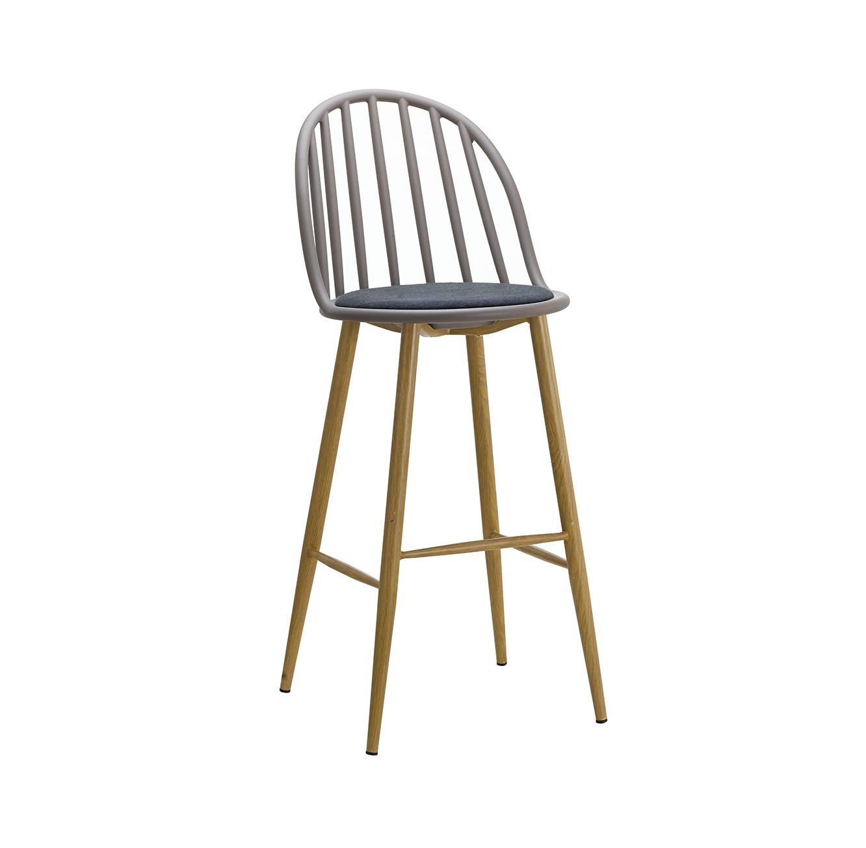 כסא בר מעוצב חזק ויציב בעל ריפוד בד, רגלי מתכת דמויות עץ ומשענת גבוהה  - תמונה 6