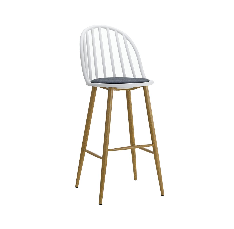 כסא בר מעוצב חזק ויציב בעל ריפוד בד, רגלי מתכת דמויות עץ ומשענת גבוהה  - תמונה 4