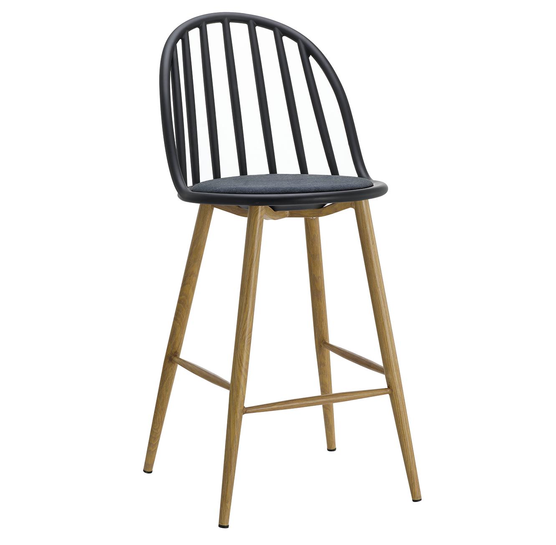 כסא בר מעוצב חזק ויציב בעל ריפוד בד, רגלי מתכת דמויות עץ ומשענת גבוהה  - תמונה 2