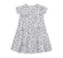שמלת ג'רזי פעמון בצבע אפור בשילוב הדפס כוכבים