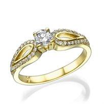"""טבעת אירוסין מעוצבת """"פרפר"""" 0.76 קראט זהב צהוב"""