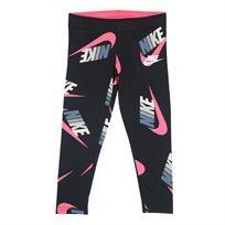 טייץ נייקי לוגו שחור לילדות - Nike Fleece Jersey Legging Black