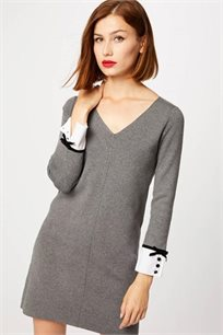 שמלת סריג קצרה עם עיטור בחפתים MORGAN - צבע לבחירה