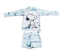 סט בגד ים שרוול ארוך סנופי לתינוקות בצבע לבן/תכלת