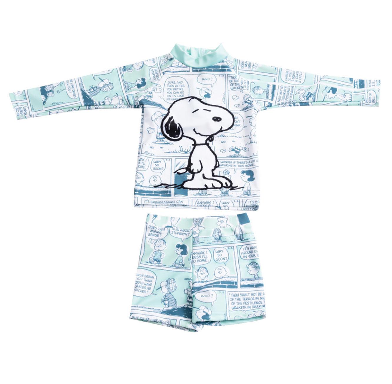 סט בגד ים שרוול ארוך סנופי לתינוקות - לבן/תכלת