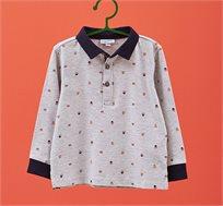 חולצת פולו שרוולים ארוכים OVS לילדות בצבע אפור עם הדפס חיות