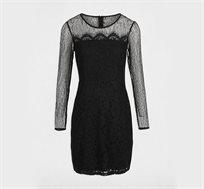 שמלת תחרה קצרה לנשים בצבע שחור