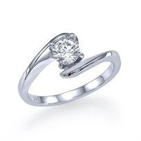 """טבעת אירוסין סוליטר זהב לבן """"מוניק"""" 0.31 קראט בסגנון צעיר"""