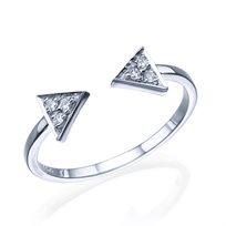 """טבעת יהלומים """"חיצים"""" זהב לבן 0.10 קראט"""