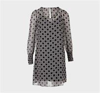 שמלת שתי שכבות מודפסת לנשים MORGAN - שחור/לבן