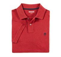 חולצת פולו Timberland בגזרת סלים לגברים בצבע אדום