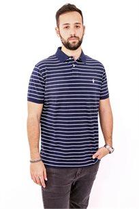 חולצת פולו POLO RALPH LAUREN CUSTOM FIT לגבר בצבע כחול כהה עם פסים לבנים