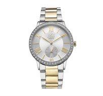 שעון יד מוכסף עם ספיר קריסטל עמיד במים מבית ADI