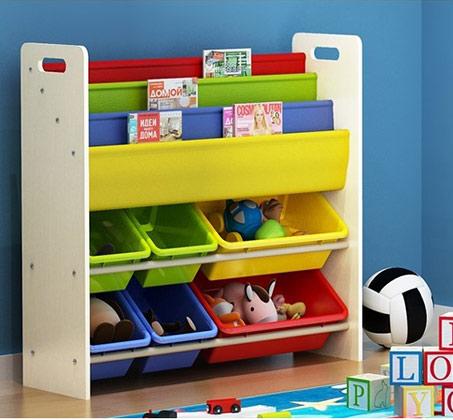 ארגונית ספרים צבעונית משולבת צעצועים לחדרי ילדים