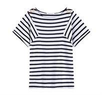 חולצת פסים עם שרוולים קצרים PROMOD בצבע כחול/לבן