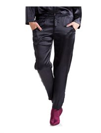 מכנסי באגי מסאטן בצבע שחור
