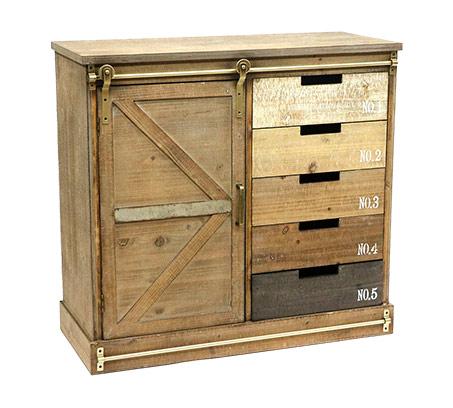 שידת עץ בעיצוב כפרי עם 5 מגירות ותא לאחסון