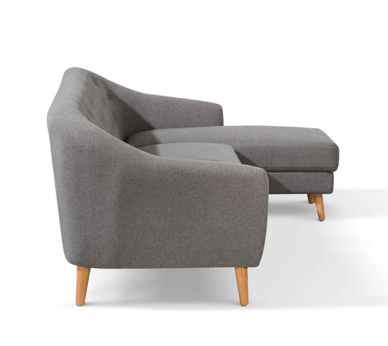 מערכת ישיבה פינתית מעוצבת דגם טודי ביתילי בריפוד בד בעלת מסגרת עץ עמידה בגוון אפור כהה - תמונה 3