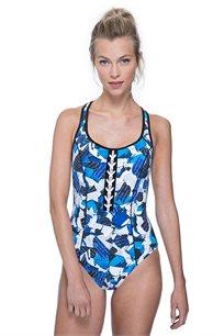בגד-ים שלם עם כתפיות רחבות Free Sport לאישה בהדפס מולטי כחול