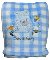 שמיכת פליס לתינוק לעגלה, עריסה או מיטה - דובי כחול