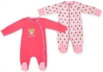 זוג אוברולים לתינוק כותנה טריקו 0-3 חודשים - ורוד לבבות