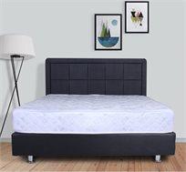 מיטה מעץ מרופדת בדמוי עור עם ארגז מצעים עץ מלא מתנה + מזרן מתנה